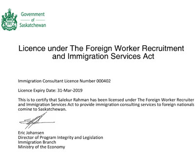 Saskatchewan license